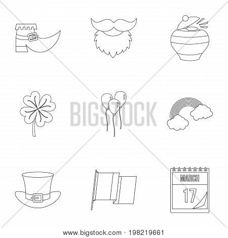 Saint Patrick day icon set. Outline style set of 9 Saint Patrick day vector icons for web isolated on white background