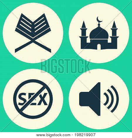 Ramadan Icons Set. Collection Of Holy Book, Building, Bullhorn And Other Elements