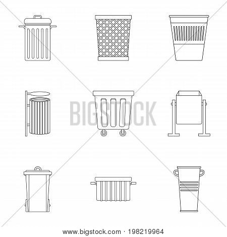 Garbage container icon set. Outline style set of 9 garbage storage vector icons for web isolated on white background