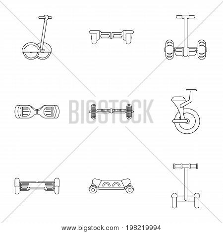 Self balancing scooter icon set. Outline style set of 9 electric scooter vector icons for web isolated on white background