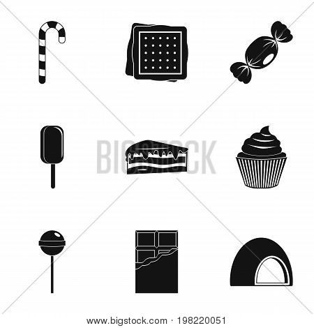 Sweet food icon set. Simple style set of 9 sweet vector icons for web isolated on white background