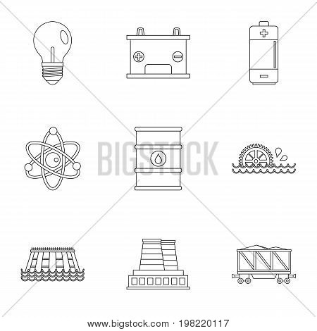 Energy icon set. Outline style set of 9 energy sources vector icons for web isolated on white background