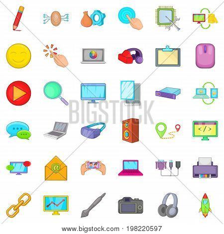 Computer network icons set. Cartoon style of 36 computer network vector icons for web isolated on white background