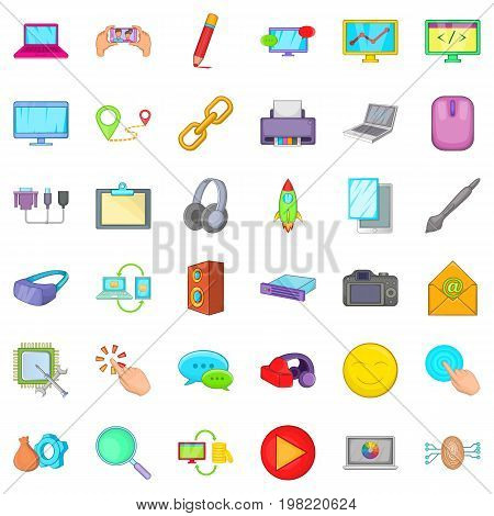 Computer icons set. Cartoon style of 36 computer vector icons for web isolated on white background