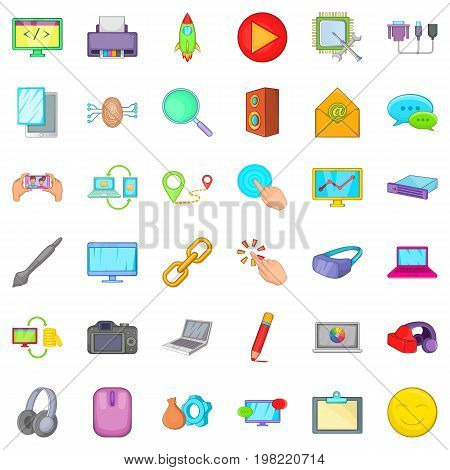 Laptop icons set. Cartoon style of 36 laptop vector icons for web isolated on white background