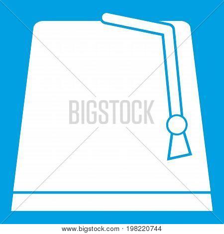 Turkish fez icon white isolated on blue background vector illustration