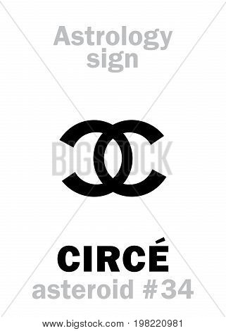 Astrology Alphabet: CIRCÉ, asteroid #34. Hieroglyphics character sign (single symbol).