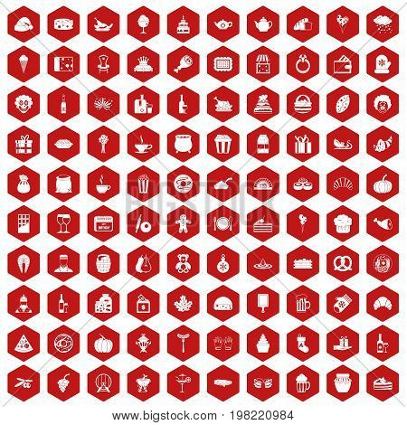 100 bounty icons set in red hexagon isolated vector illustration