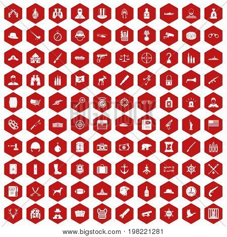 100 bullet icons set in red hexagon isolated vector illustration
