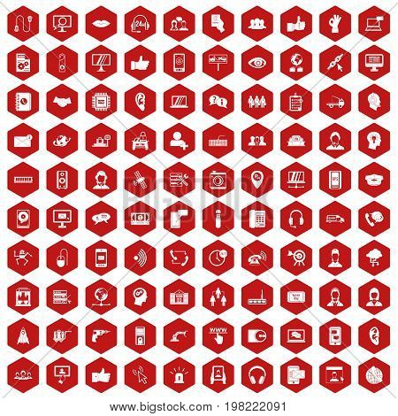 100 call center icons set in red hexagon isolated vector illustration
