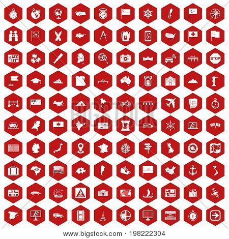 100 cartography icons set in red hexagon isolated vector illustration