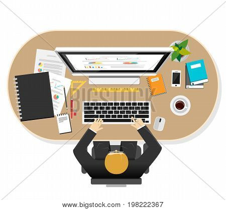Professional businessman work space illustration. Concepts for person working on desktop at office. Work place