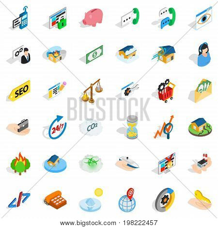 Customer icons set. Isometric style of 36 customer vector icons for web isolated on white background