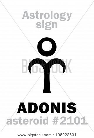 Astrology Alphabet: ADONIS (Attis), asteroid #2101. Hieroglyphics character sign (single symbol).