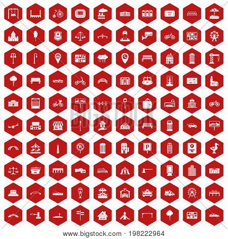 100 city icons set in red hexagon isolated vector illustration