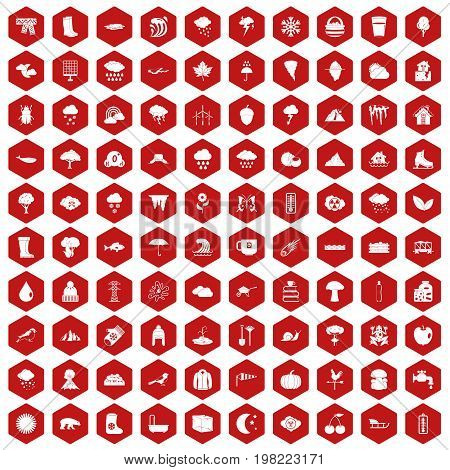 100 clouds icons set in red hexagon isolated vector illustration