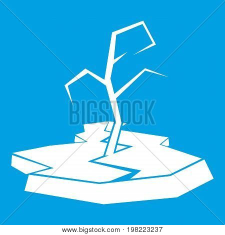 Drought icon white isolated on blue background vector illustration