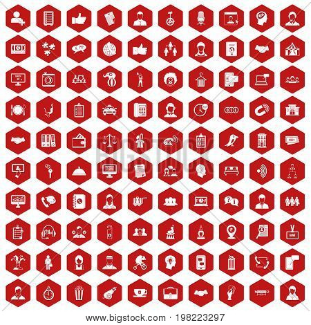100 coherence icons set in red hexagon isolated vector illustration