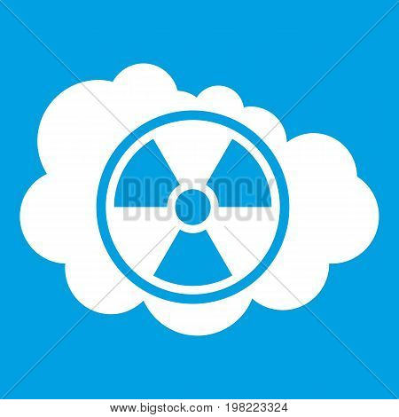 Cloud and radioactive sign icon white isolated on blue background vector illustration