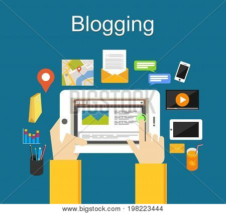 Blogging illustration concept. Blogging on mobile phone concept. Content marketing.