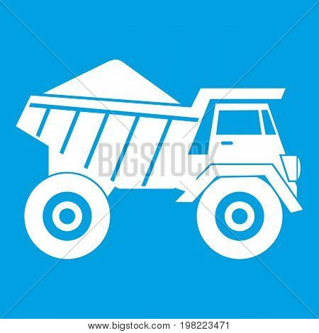 Dump truck with sand icon white isolated on blue background vector illustration