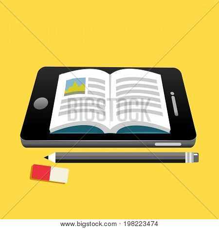 Electronic book concept. Digital book concept. Reading E-book on smartphone concept illustration. Education supplies