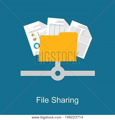 File sharing concept. Data backup. File management