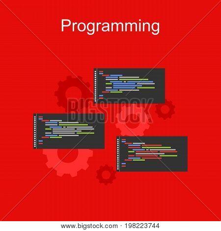 Programming illustration. Banner illustration of programming concept. . Flat design illustration concepts for analysis algorithm , coding , programming , and mechanism.