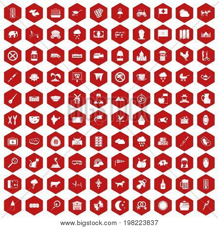 100 cow icons set in red hexagon isolated vector illustration