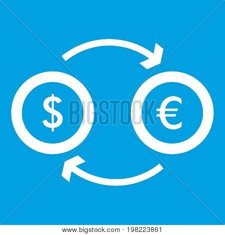 Euro dollar euro exchange icon white isolated on blue background vector illustration