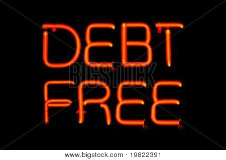 Red neon sign of the words 'Debt Free' on a black background.