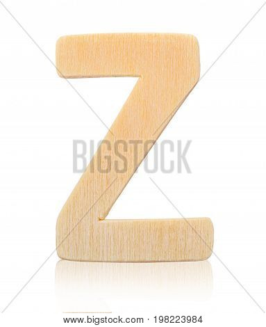 Single capital block wooden letter Z isolated on white background Save clipping path.