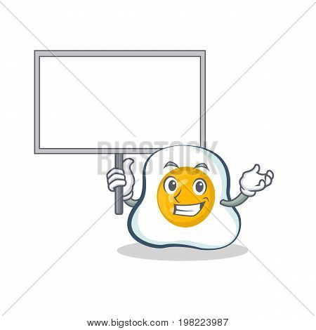 Bring board fried egg character cartoon vector illustration