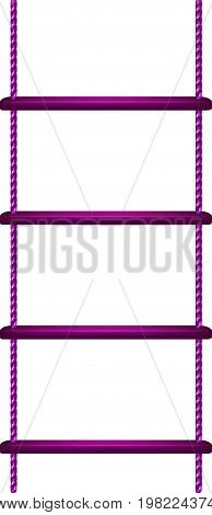 Wooden rope ladder in purple design on white background