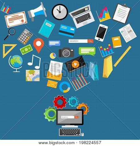 Search engine illustration. Flat design illustration concepts for internet contents, media digital, internet cloud storage internet searching.