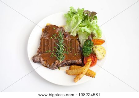 T-bone Steak With Fresh Rosemary With Black Pepper Gravy Sauce