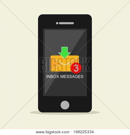 Inbox messages notification on mobile phone concept