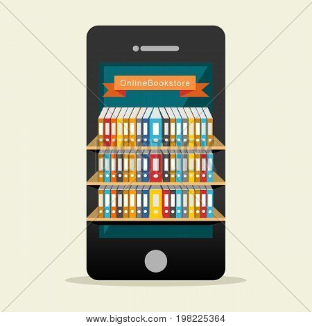 Online library or digital library on mobile application concept. Education supplies. Electronic book