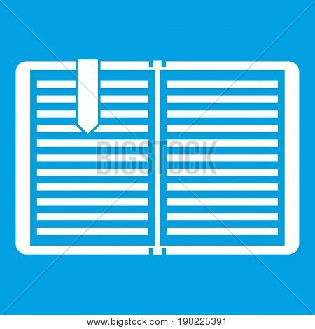 Open book with red bookmark icon white isolated on blue background vector illustration