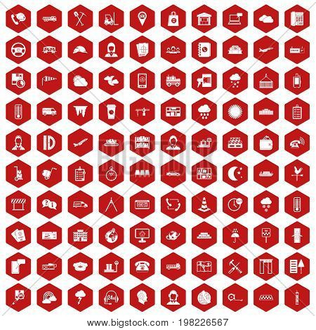 100 dispatcher icons set in red hexagon isolated vector illustration