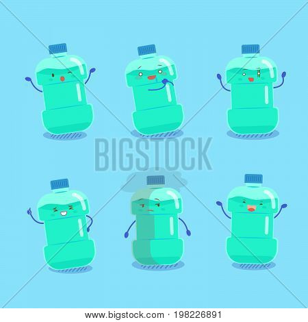 cute cartoon mouthwash with different expression on blue background