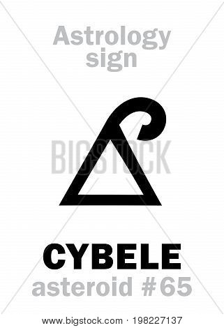 Astrology Alphabet: CYBELE (Phrygia), asteroid #65. Hieroglyphics character sign (single symbol).