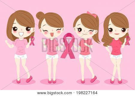 women with breast cancer concept on the pink background