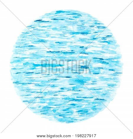 Blue Sea Waves as Natural Abstract Background Watercolor Hand Drawn and Painted