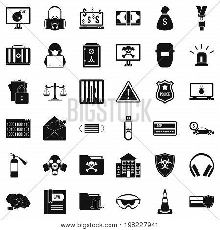 Hacker icons set. Simple style of 36 hacker vector icons for web isolated on white background