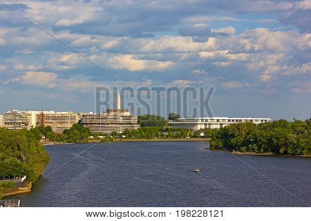 Potomac River near Georgetown Park waterfront in Washington DC. US capital panorama with river in summer.