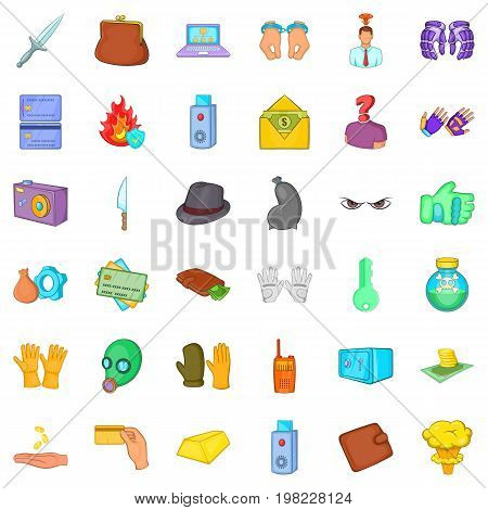 Crime icons set. Cartoon style of 36 crime vector icons for web isolated on white background