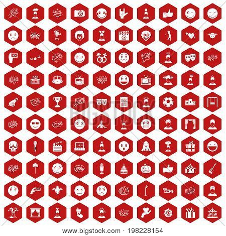 100 emotion icons set in red hexagon isolated vector illustration