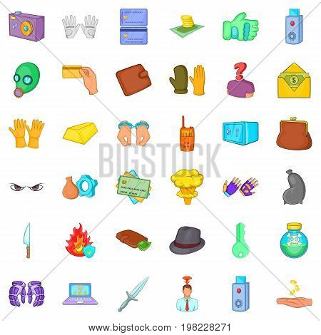 Danger crime icons set. Cartoon style of 36 danger crime vector icons for web isolated on white background
