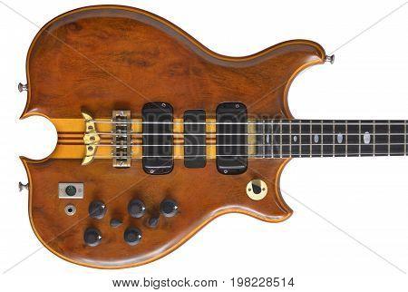 A 1970s era high-end bass guitar made from exotic hardwoods